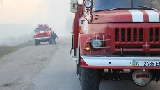 Пожарные в зоне Чернобыльской ЧАЭС