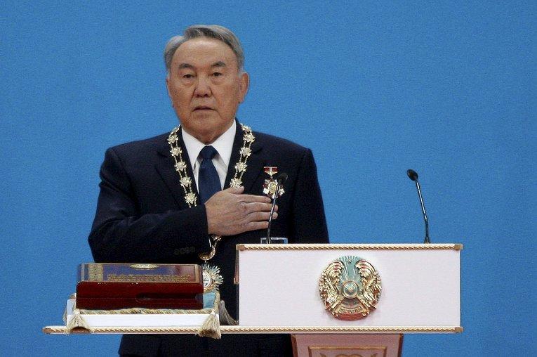 Президент Казахстана Нурсултан Назарбаев на церемонии инаугурации в Астане