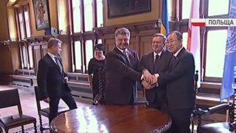 Порошенко встретился с Коморовским и Пан Ги Муном. Видео