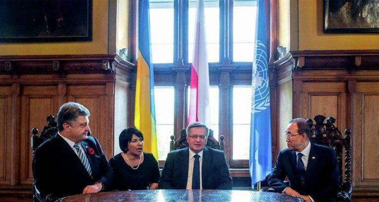Петро Порошенко, Бронислав Коморовский и Пан Ги Мун