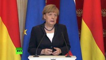 Пресс-конференция Путина и Меркель в Москве