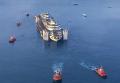 Costa Concordia приближается к месту своего демонтажа. Видео