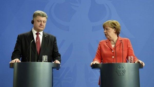 Петр Порошенко и Ангела Меркель в Берлине