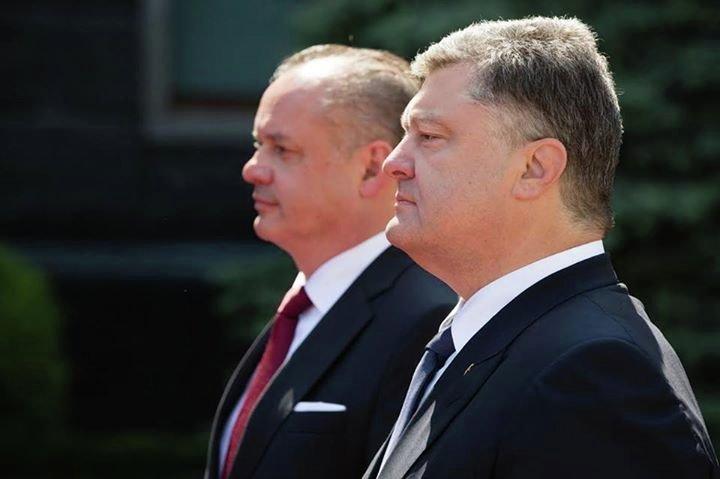 Президент Словакии Андрей Киска и президент Украины Петр Порошенко