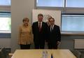 Ангела Меркель, Петр Порошенко и Франсуа Олланд на саммите в Риге