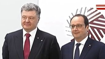 Встреча Петра Порошенко, Ангелы Меркель и Франсуа Олланда в Риге