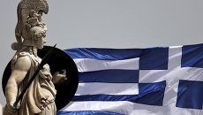 Флаг Греции в Афинах 21 мая 2015 г