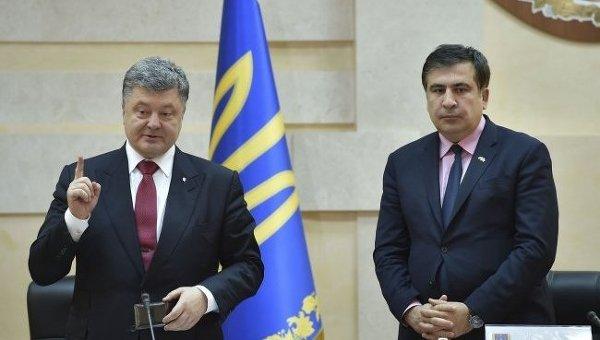 Петр Порошенко и Михаил Саакашвили в Одессе. Архивное фото