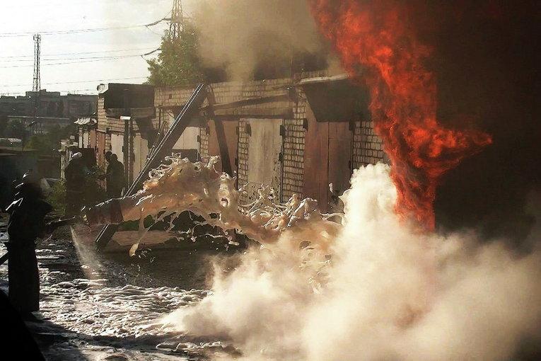 Пожар в гаражном кооперативе в Харькове