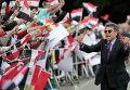 Сторонники президента Египта Абдель Фаттах эль-Сисси во время митинга перед его прибытием в Дворец Бельвю, резиденцию президента Германии Йоахима Гаука, в Берлине.