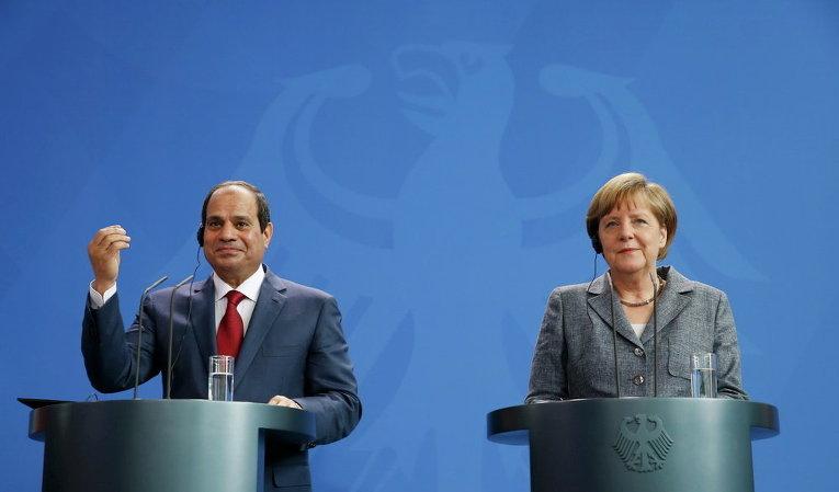 Канцлер Германии Ангела Меркель и президент Египта Абдель Фаттах аль-Сиси на совместной пресс-конференции по итогам переговоров в канцелярии в Берлине, Германия