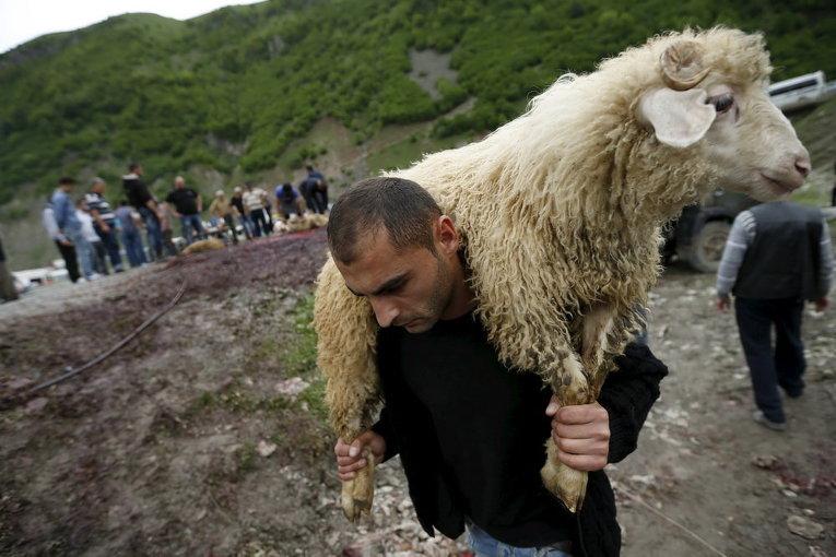 Мужчина несет жертвенного барана во время религиозного праздника в селе Млета, Грузия