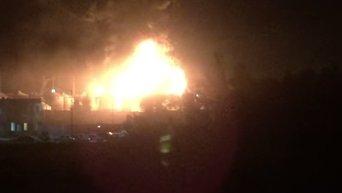 Пожар на нефтебазе в Киевской области. Видео