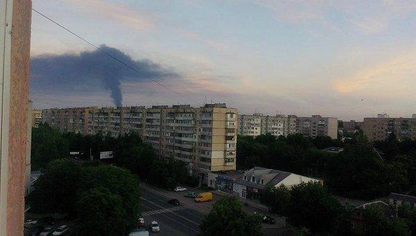 Пожар на нефтебазе в Глевахе. Вид из Боярки
