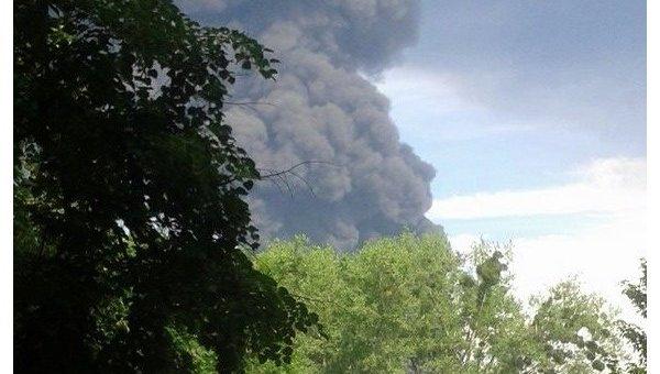 Пожар на нефтебазе в Глевахе. Вид из Василькова