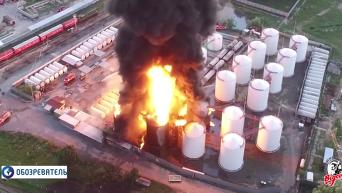 Кадры пожара нефтебазы под Киевом. Видео