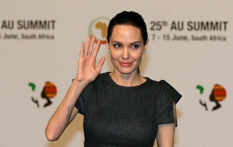 Актриса Анджелина Джоли на саммите Африканского союза в Йоханнесбурге