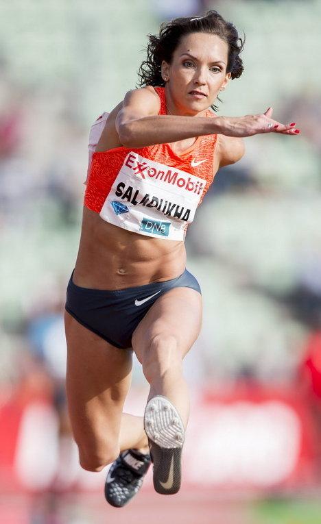 Украинка Ольга Саладуха на соревнования по легкой атлетике на стадионе Бишлетт в Осло
