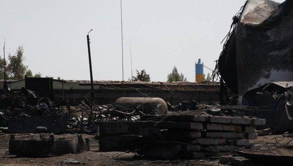Последствия пожара на нефтебазе под Киевом