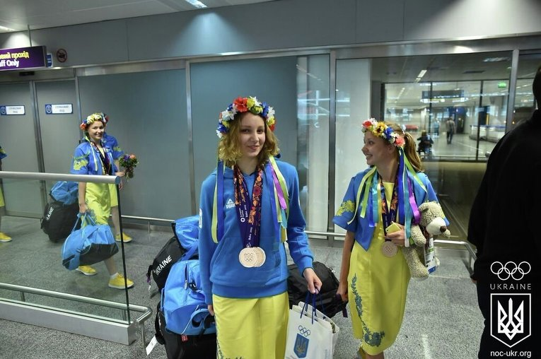 Украинские призеры Европейских игр по синхронному плаванию вернулись на родину