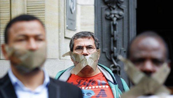 Протест в Берлине против задержания журналистов. Архивное фото