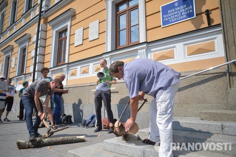 Акция протеста против вырубки деревьев