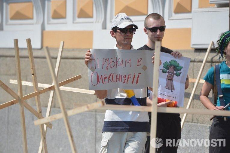 Акция протеста против вырубки деревьев в Александрии