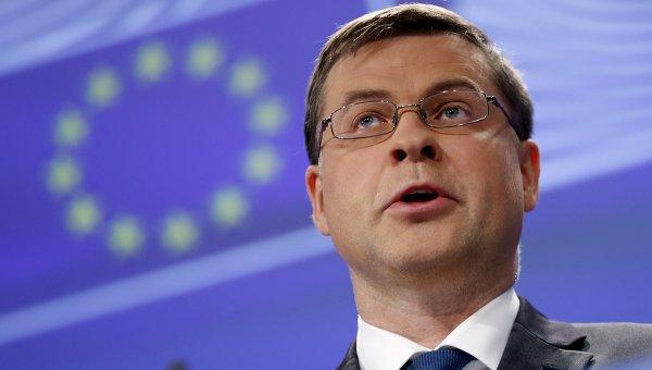 Заместитель председателя Еврокомиссии по валютному союзу Валдис Домбровскис. Архивное фото