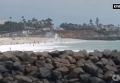 Крушение самолета на многолюдном пляже в Калифорнии. Видео