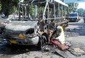 На месте сгоревшей маршрутки в Сумах
