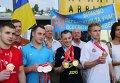В аэропорту Жуляны встретили спортсменов - участников Всемирной летней Универсиады-2015