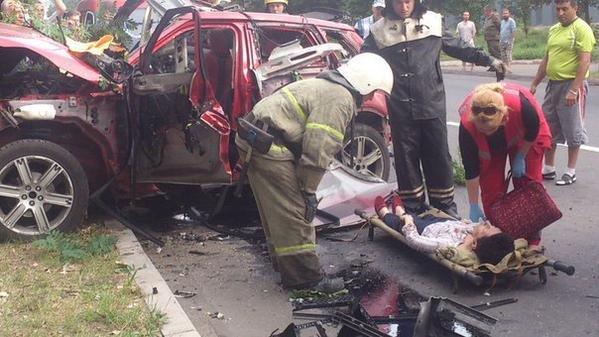 Взрыв Range Rover в Донецке