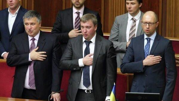 Арсен Аваков, Павел Петренко и Арсений Яценюк. Архивное фото