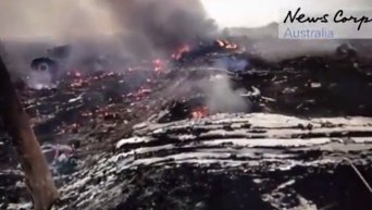 Первые минуты после крушения малайзийского Boeing. Видео