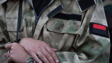 "Нашивка с флагом ""Правого сектора"" на рукаве бойца"