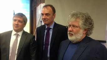 Андрей Коболев, Марк Роллингз и Игорь Коломойский (слева направо)