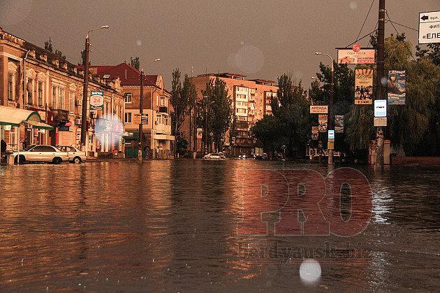 Потоп в Бердянске после ливня