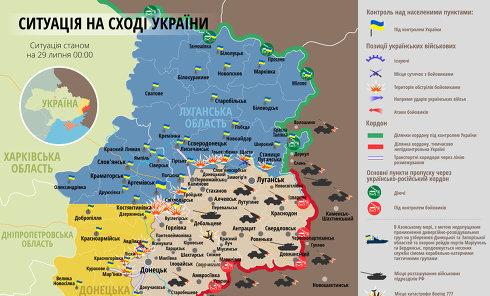 Ситуация в зоне АТО на 29 июля. Карта СНБО