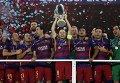 Игроки Барселоны в победном матче против Севильи за Суперкубок УЕФА 2015 года