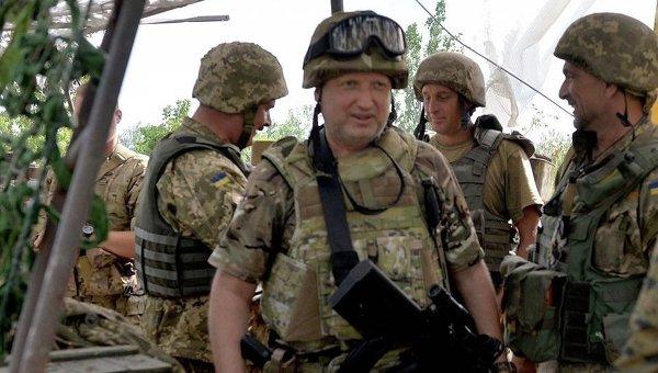 Визит Александра Турчинова в сектор Б зоны АТО