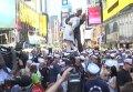 Флешмоб поцелуев в Нью-Йорке. Видео