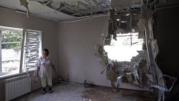 Районы Донецка после обстрелов