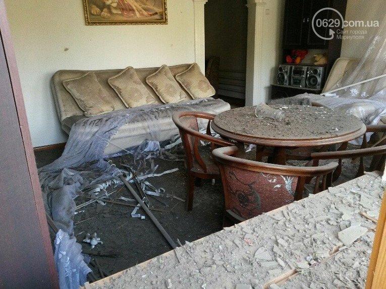 Последствия обстрела Сартаны под Мариуполем