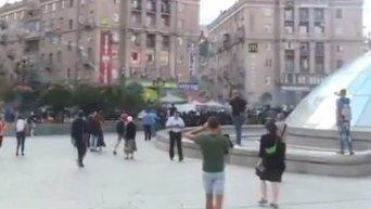 Беспорядки футбольных фанатов в центре Киева