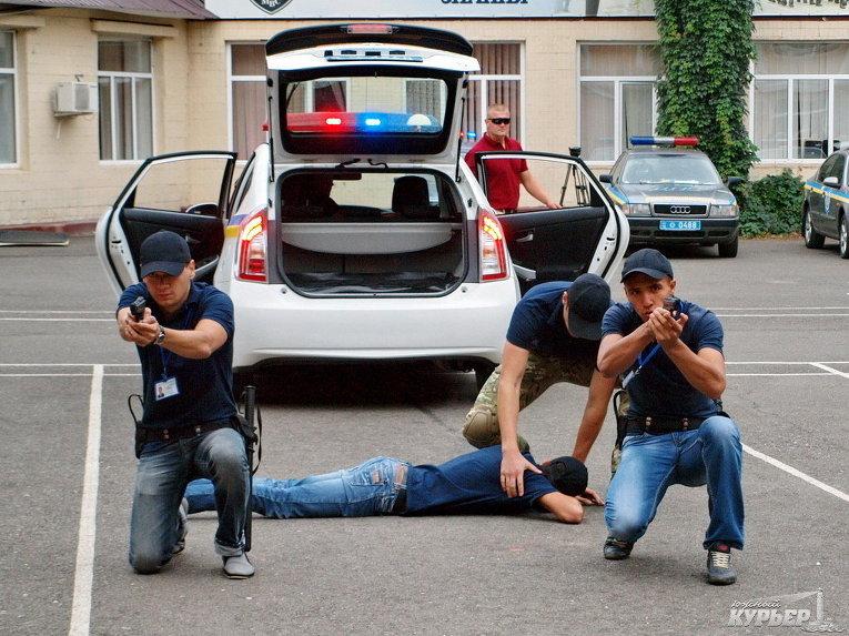 На тренировке патрульной полиции в Одессе