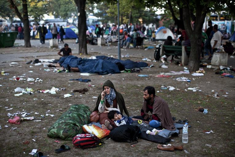 Сирийские беженцы на сербско-венгерской границе