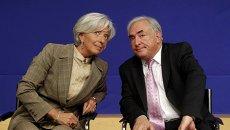 Директор-распорядитель МВФ Кристин Лагард и экс-глава МВФ Доминик Стросс-Кан. Архивное фото