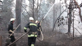 Тушение пожара под Киевом. Видео
