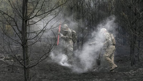 Тушение пожара под Киевом
