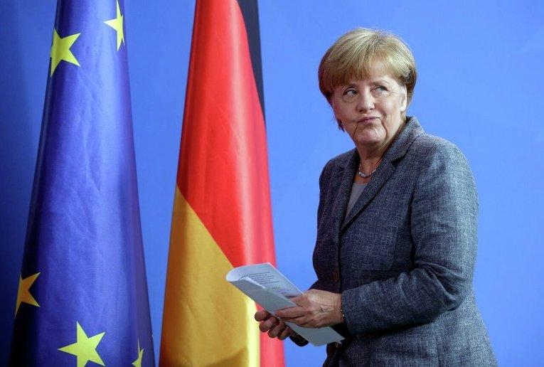 Ангела Меркель после заседания коалиционного комитета о беженцах в ЕС